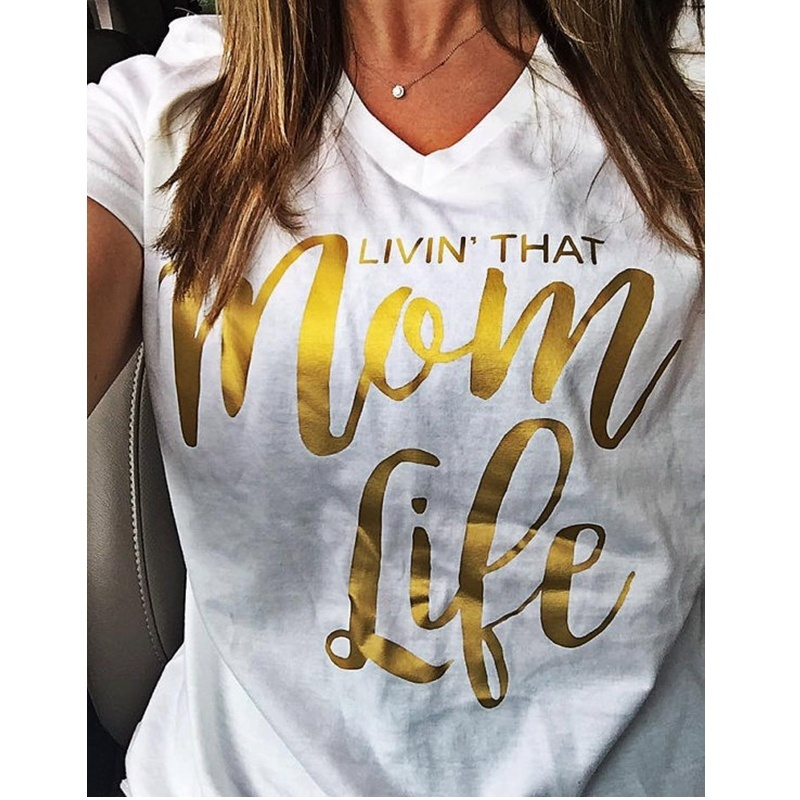 2019 Ladies New Summer Plus Size Cute Women Casual Mom Life Letter Print Short Sleeve V-neck Top T-shirt