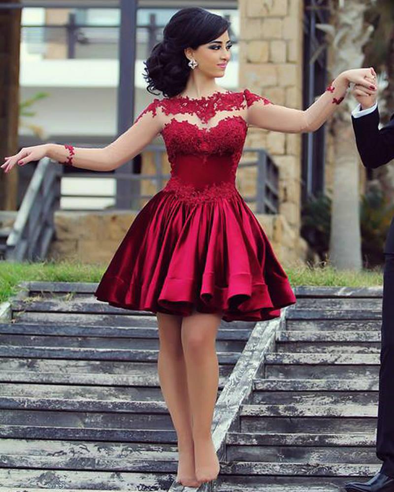 Burgundy Long Sleeve Short Prom Dresses