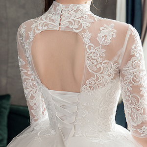 Image 5 - Vestido de novia De media manga de encaje, cuello alto