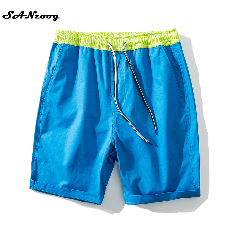 Plus size 4xl 100 cotton beach men shorts drawstring elastic waist solid 2017 new summer casual
