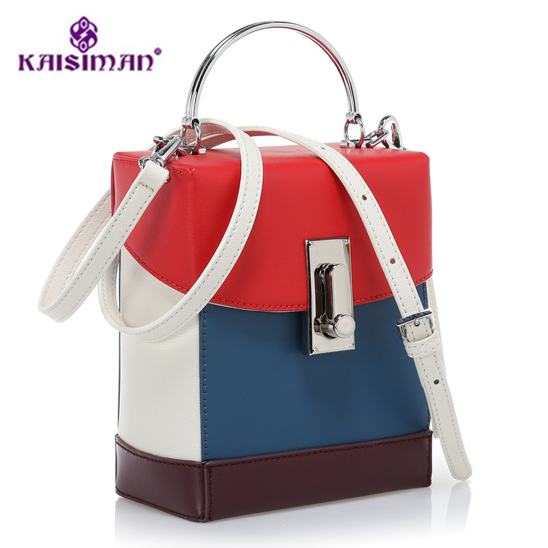Top Quality Cowhide Leather Box Bag Female Fashion Genuine Leather Shoulder Bag Women Hit Color Clutch