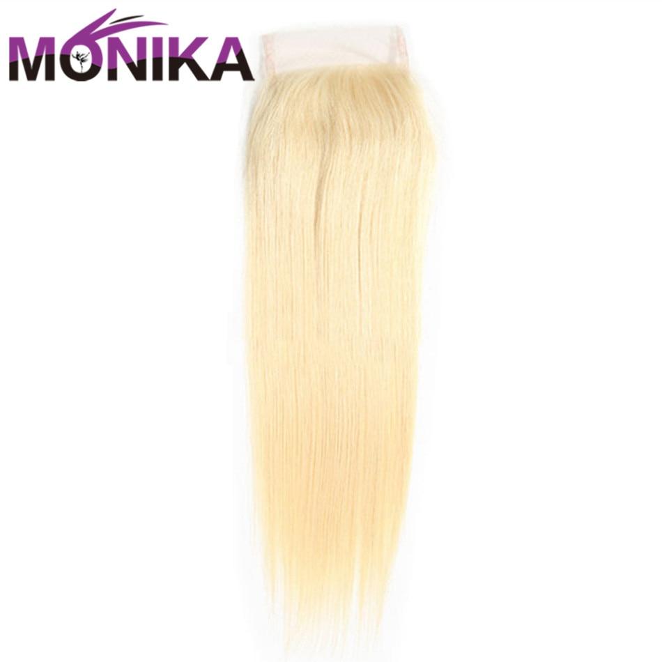 Monika Hair #613 Blonde Closure 4X4 Peruvian Straight Hair Closure Swiss Lace Closure Non-Remy Closure Human Hair