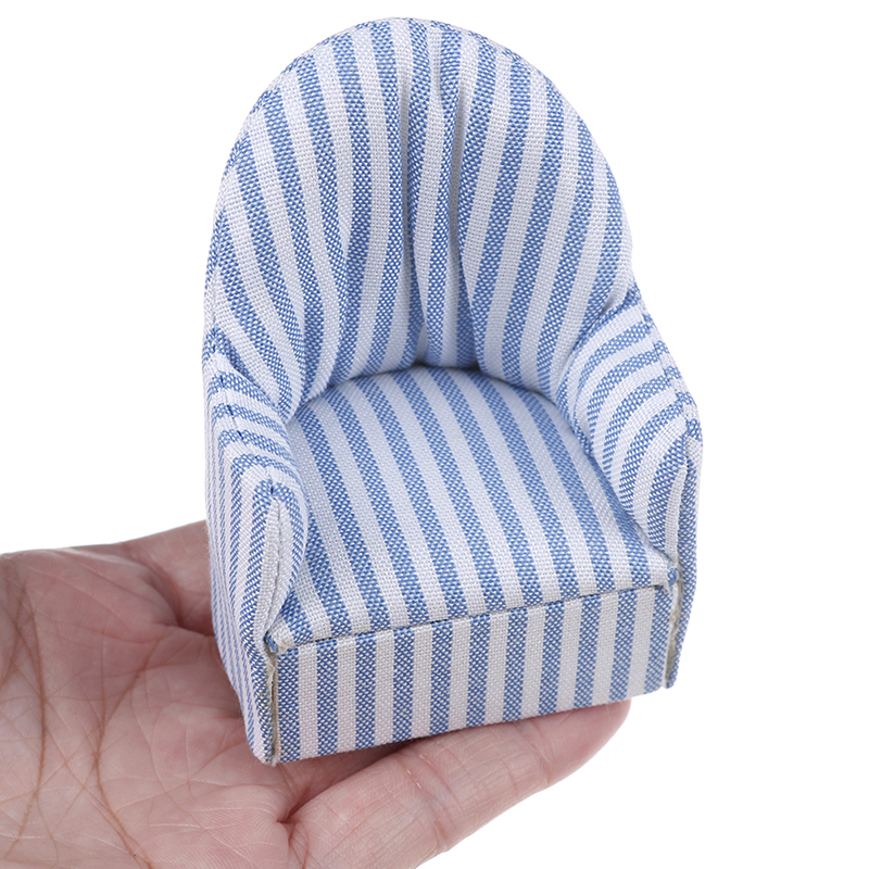 1:12 Living Room Navy Stripe Soft Queen Princess Sofa For Baby Toys Girls Doll Gift Dollhouse Miniature Furniture Sofa Chair
