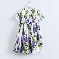 Menoea Princess Girl Party Dress 2019 Brand Dresses Lavender Printed Kids Dress for Girls Clothes European and American Style