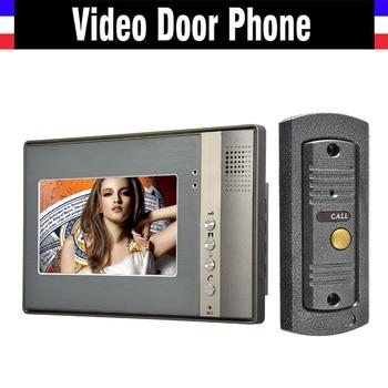 "7"" monitor video intercom video door phone system video doorbell interphone kits IR Night Vision pinhole Camera wired intercom"
