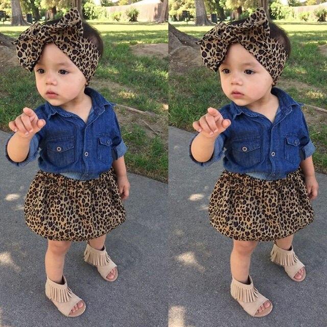 92e38750 2017 3PCS Toddler Kids Baby Boy Girl Denim Top Shirt+Leopard Skirt Dress+Headband  Outfits Clothes Set 0-5Y