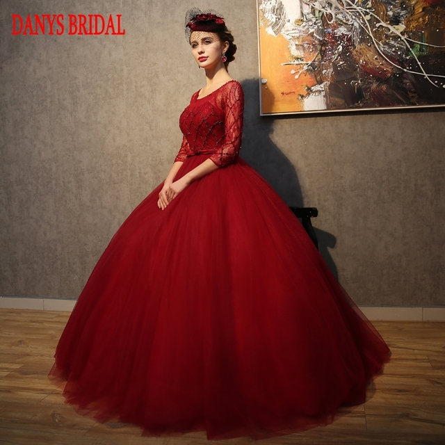 d1d122663a Red Long Sleeve Wedding Dress Lace Tulle Ball Gown Weding China Bridal  Wedding Gowns Weddingdress
