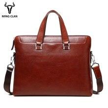 Mingclan Для мужчин кожа Портфели отделении сумки Бизнес сумка для ноутбука Для мужчин; сумка через плечо Для мужчин сумка дорожные сумки