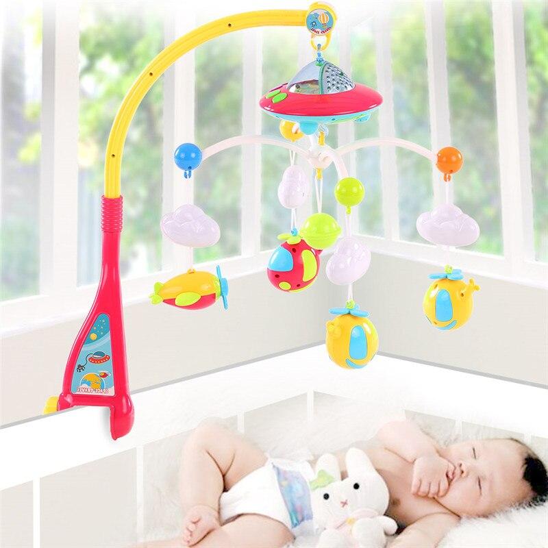 Bébé jouets 0-12 mois berceau Mobile Musical lit cloche avec Animal hochets Projection dessin animé début d'apprentissage enfants ToyRP60