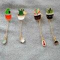 El nuevo Encanto de la manera verde cactus Bonsai plantas envío gratis nuevo goteo Esmalte broche de niña pin insignia de ropa al por mayor