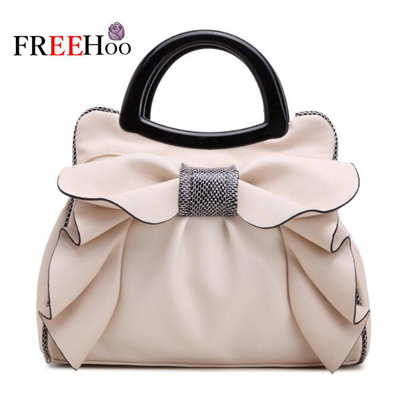 Bags for women 2018 European and American new fashion white sweet butterfly knot high-end PU leather brand lady handbag characteristic floral and butterfly shape lace decorated body jewelry for women