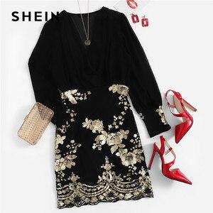 Image 5 - SHEIN 黒スカーフスパンコールボディスパーティードレス女性 2019 春 V ネック長袖シーススリムでエレガントなドレス