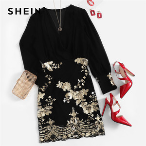 Image 5 - SHEIN Black See Through Wrap Floral Sequin Bodice Party Dress Women 2019 Spring V Neck Long Sleeve Sheath Slim Elegant Dresses