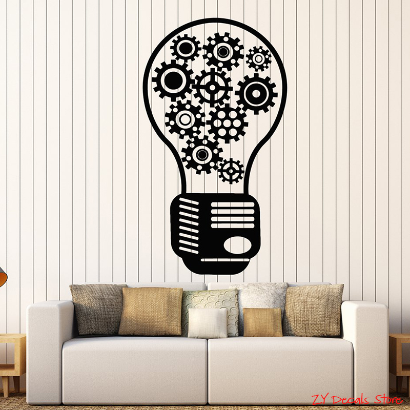 Gear Vinyl Wall Decal Light Bulb Motivational Decor Office Style Stickers Teamwork Quotes Wall Decor For Office Room L650