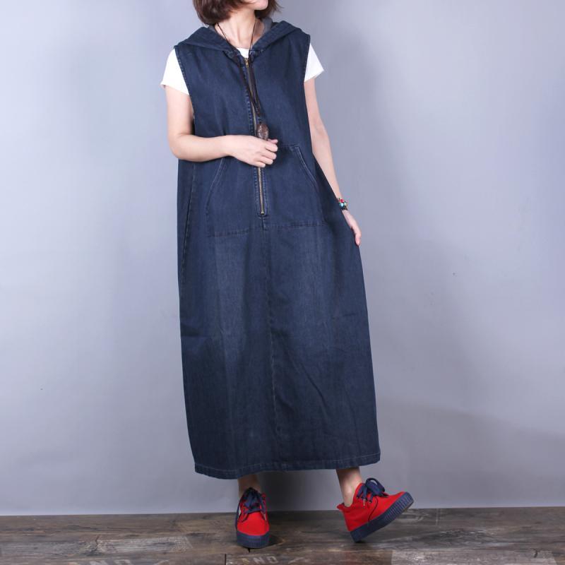 จัดส่งฟรี 2019 New Fashion Long กลางลูกวัว Denim แขนกุดผู้หญิงกางเกงยีนส์กับกระเป๋าขนาด A   Line Hooded ชุด-ใน ชุดเดรส จาก เสื้อผ้าสตรี บน   3