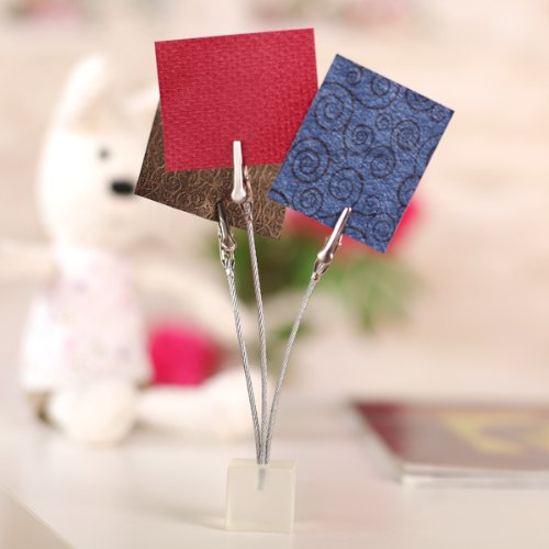 Affordable 3 Clips Wire Memo Holder Paper Note Clip Cube Base