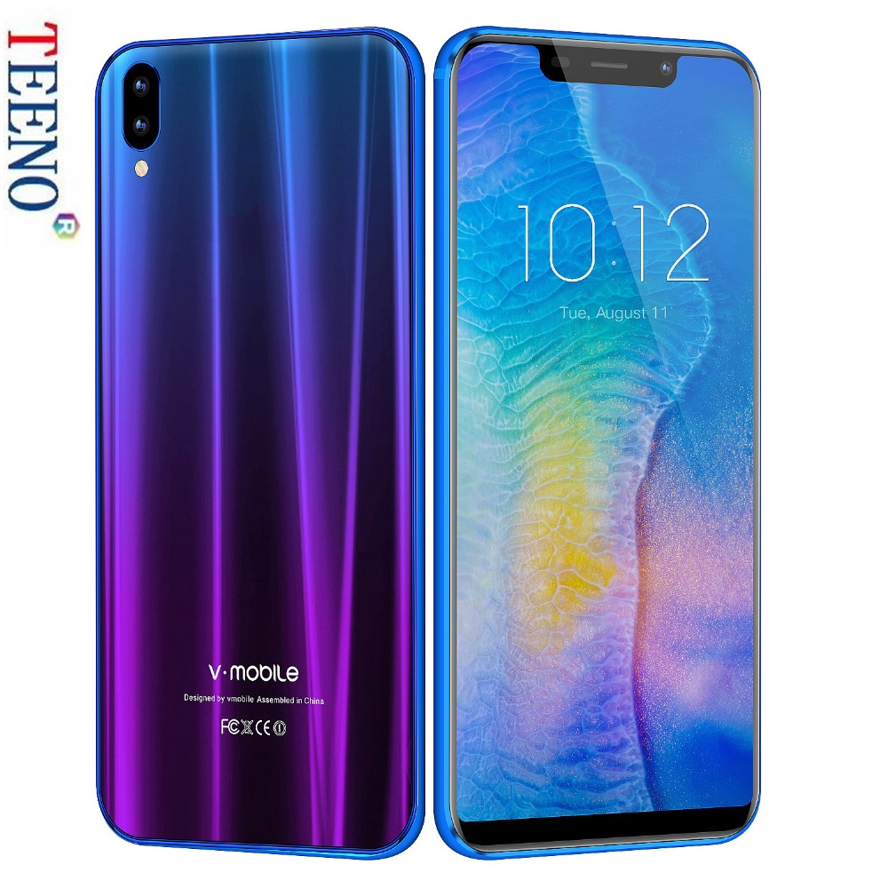 Vmobile XS мобильный телефон Android 7,0 3g B оперативная память 32 ГБ Встроенная 5,84 полный экран 19:9 13MP камера Dual Sim Face ID 3G 4 ядра смартфон
