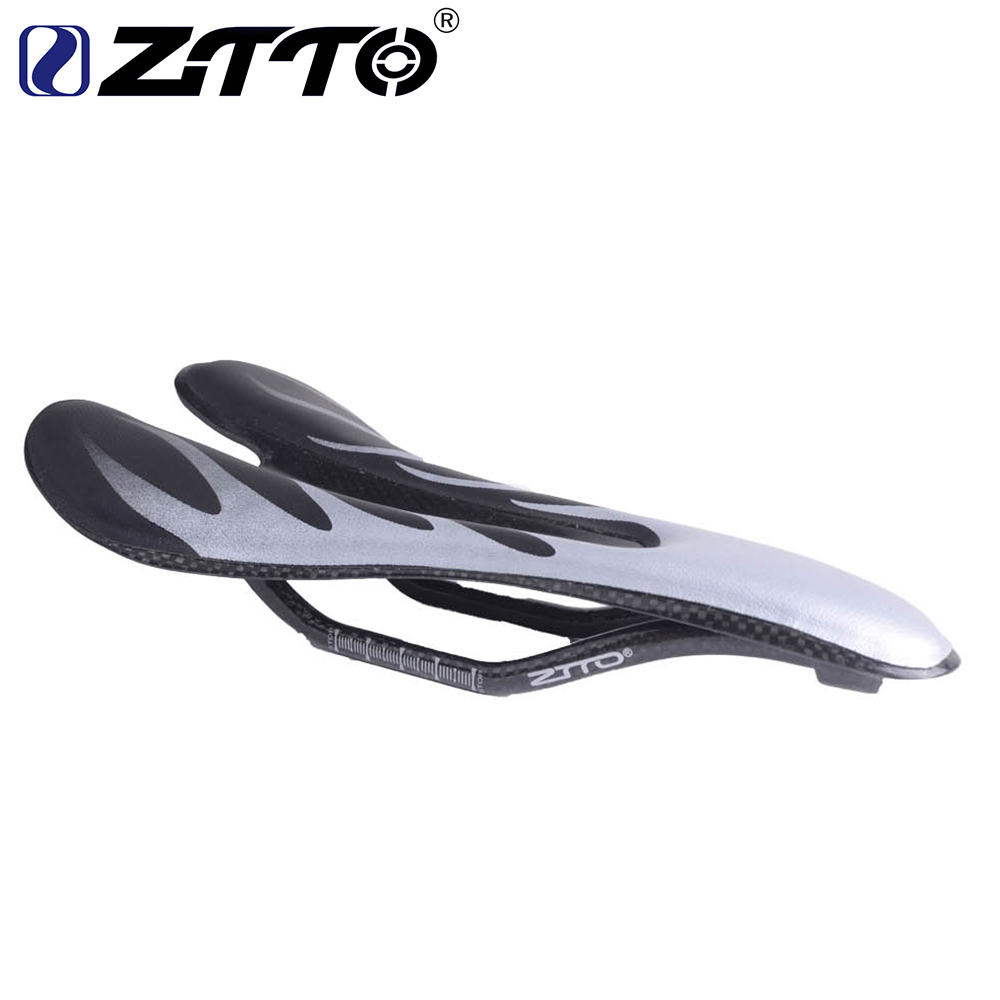 ZTTO Silver Carbon Saddle Ultra-light breathable Cycling Bike Saddles MTB Road PU Leather Seat Mountain Bicycle Parts Hollow wide carbon fiber road bicycle saddle seat ultra light cycling racing bike saddles almofadas cojines cushion italia belle sillin