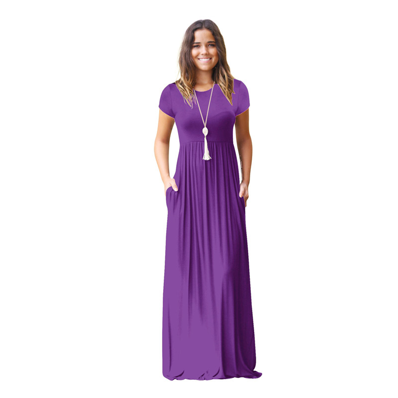 Women's Short Sleeve Loose Plain Maxi Dresses Casual Long Dresses with Pockets 6