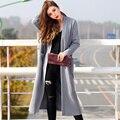 Verragee Женщины Осень Зима Пальто Мода Офис Дамы Серый Розовый длинные Трикотажные Пальто Женщин Плюс Размер X Долго Траншеи пальто
