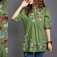 Hot Sale Vintage 70s Peasant Mexican Ethnic Floral EMBROIDERED BOHO Hippie Blouse DRESS Clothing Vestidos S