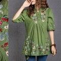 Venta caliente de la vendimia 70 s mexican campesino étnico florales bordados boho del hippie blusa ropa dress vestidos sml envío gratis
