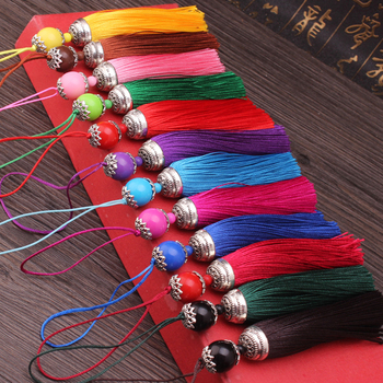 2pcs/lot Silk Tassel Fringe brush Sling Tassels Trim with beads pendant for Sew Curtains jewelry Accessories DIY Wedding Decor