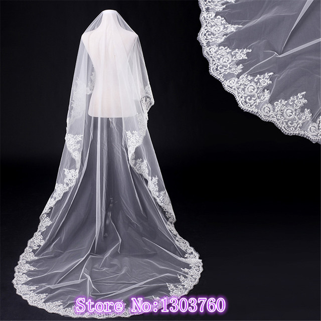3 m beautiful bride's veil Wedding church wedding veil Cover the top of the class the face veil wedding veils with crystal