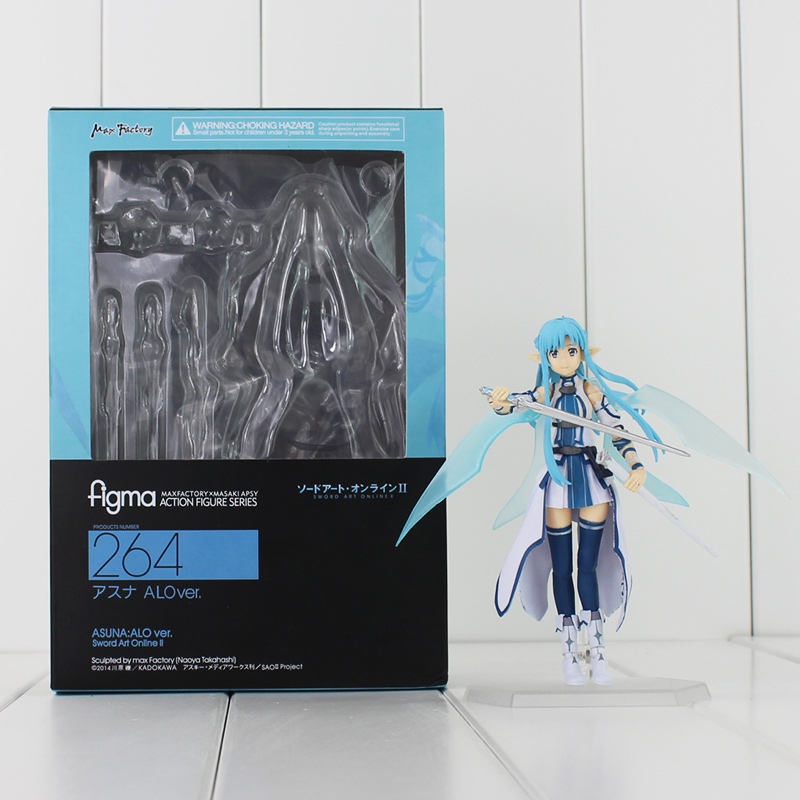 цены  Figma Anime Sword Art Online Figma 264 Yuuki Asuna SAO ALO PVC Action Figure Collection Model Toys 15cm Doll