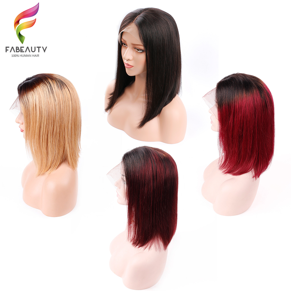 Ombre Short Bob Wig Peruvian Lace Front Human Hair Wigs Pre Plucked Middle Part Straight Remy Wigs Natural Color Fabeauty Hair