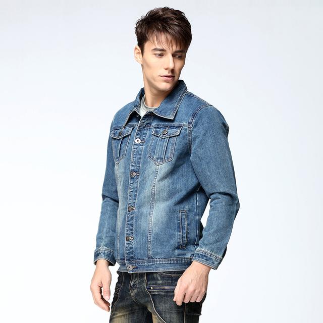 Vomint 2017 New Mens Denim Jacket Coat Single Breasted Loose Fit Light Blue Big Men Plus Size L 4XL 5XL 6XL 7XL V7S1C002