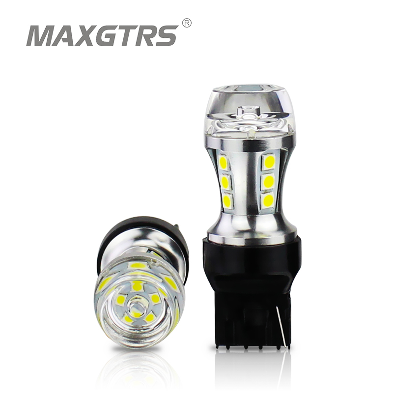 MAXGTRS 2x 7440 LED T20 W21W Led Car light DRL 3030 SMD COB Auto Lamp 12V White Yellow Amber Red Reverse Lights Turn Signal 4 led 12v vehicle signal lights 2 pack yellow
