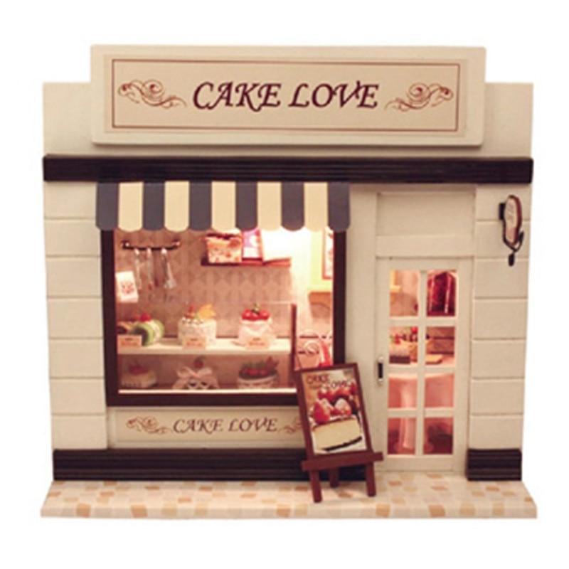 Style européen Kawaii bricolage artisanat jouets en bois Mini maison Dessert gâteau magasin maison de poupée avec lumière LED cadeaux pour enfants à la main
