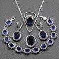 Azul Cubic Zirconia 4 PCS Mulheres Conjuntos de Jóias de Prata Esterlina 925 Pingente Brinco Colar Pulseira Anel de Presente Grátis JS55