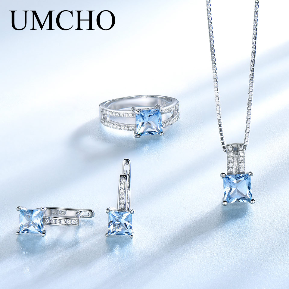 UMCHO Elegant 925 Sterling Silver Necklaces Rings Earrings Created Sky Blue Topaz Wedding Jewelry Set For Women With Box ChainUMCHO Elegant 925 Sterling Silver Necklaces Rings Earrings Created Sky Blue Topaz Wedding Jewelry Set For Women With Box Chain