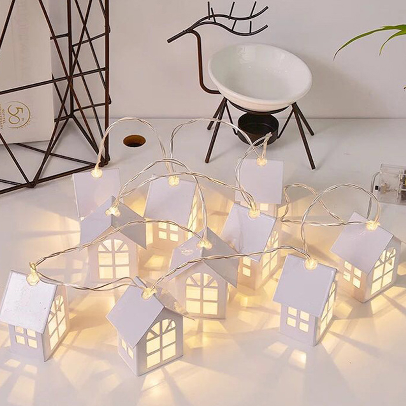 1.8m10 Pcs LED Doll House Led Christmas Tree House Decoration Fairy Tale Style Wedding Christmas Wreath New Year Gift removable christmas wreath wall sticker xmas wreath wallpaper