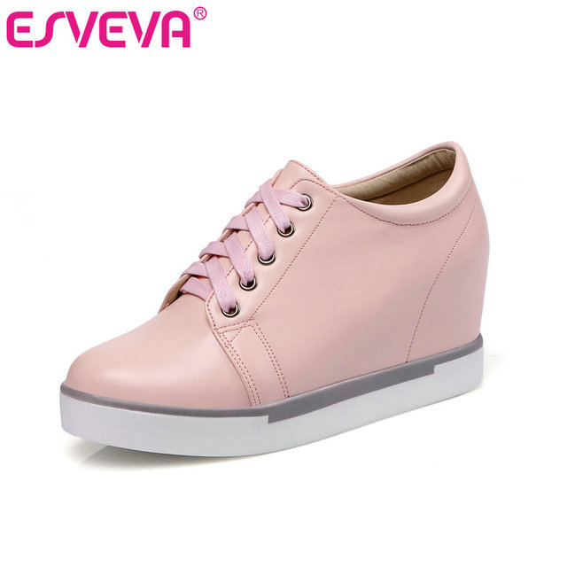 ESVEVA 2017 Spring Autumn Casual Women Shoes Wedges High Heel  Lace Up Women Pumps  Round Toe Platform Party Shoes Size 34-39