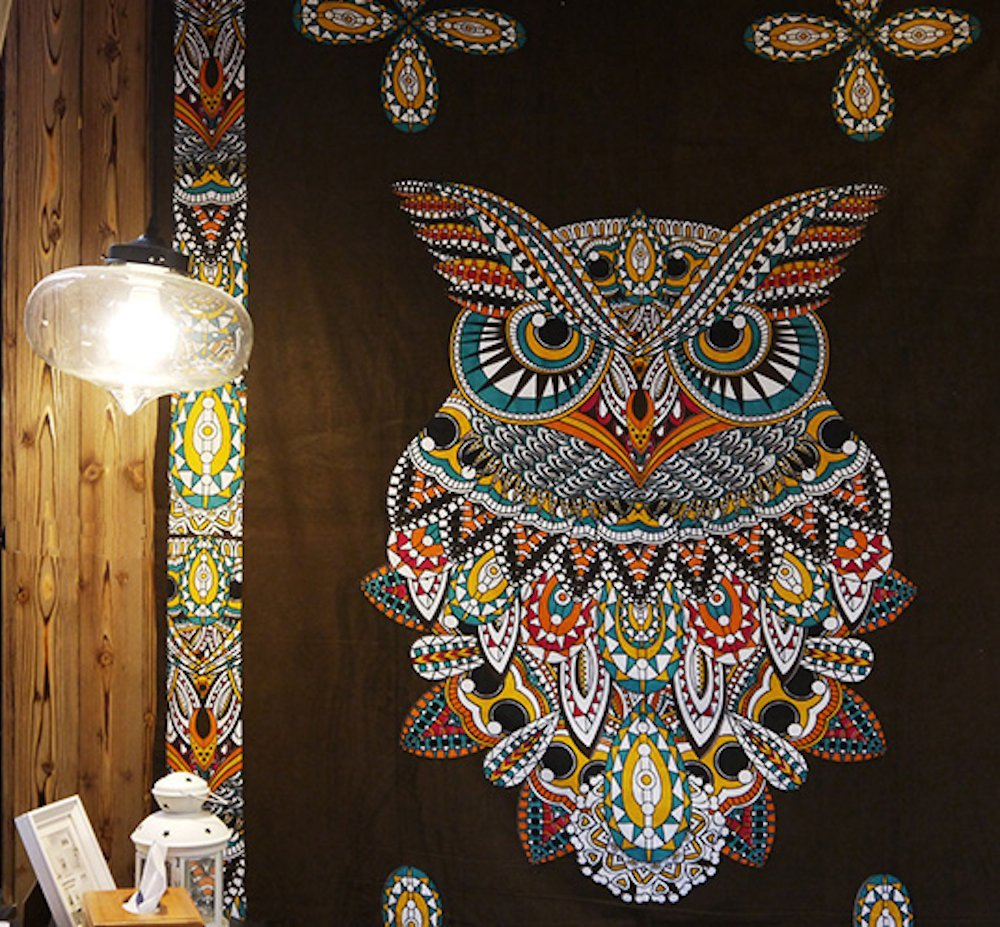 Bohême Mandala Tapisserie Totem Hibou Mur Tapisserie Plage Serviette De Yoga Pad Couverture Camping Matelas Pad 200x150 cm