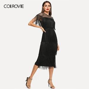 Image 4 - COLROVIE czarne kabaretki Mesh jarzmo warstwowe frędzle Bodycon Sexy sukienka kobiety 2019 lato Slim Fit ołówek biurowa, damska długie sukienki
