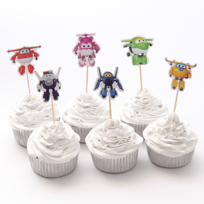 24pac/lot Super Wings Cupcake Topper Happy Birthday Party Baby Shower Children Party Kids Cake Decor Supplies