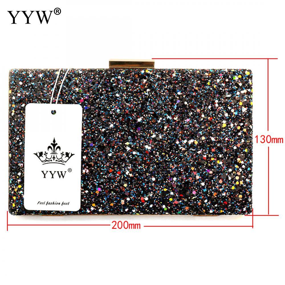 Image 3 - Yyw prata glitter embreagem noite festa saco de embreagem moda feminina luxo bolsa sacos pochettes preto argente casamento crossbody sacoBolsas de mão   -