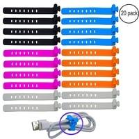 100 Food Grade Silicone Bag Ties Cable Management Reusable Zip Tie Twist Multi Use Bag Clip
