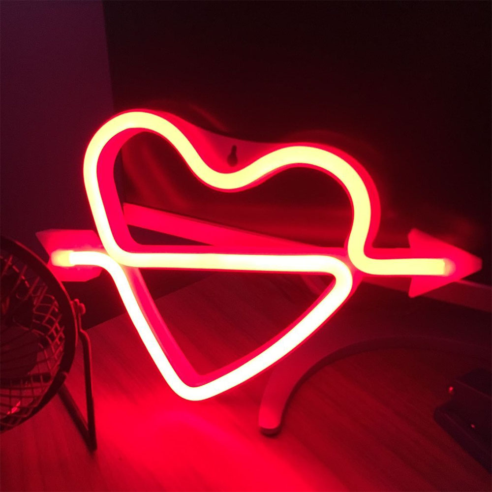 Lovely Lights Neon Sign Light Heart Table Light For Bar Home Party Decoration Xmas Birthday Kid Couple Gift Lights