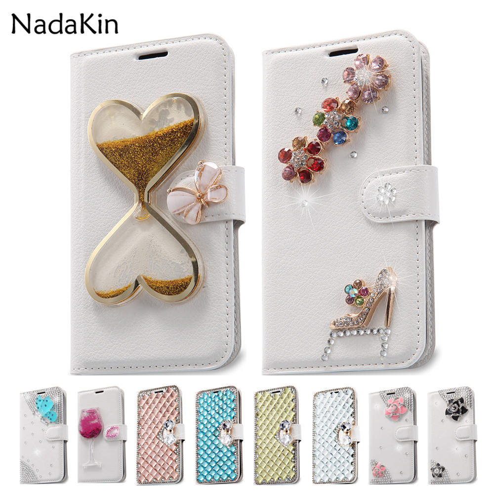 Diamond Flip Leather Case for Wiko Rainbow UP Jam Highway Star Fever 4G Sunset Lenny Sunny 2 3 Max Upulse Wim Lite View XL Prime ...