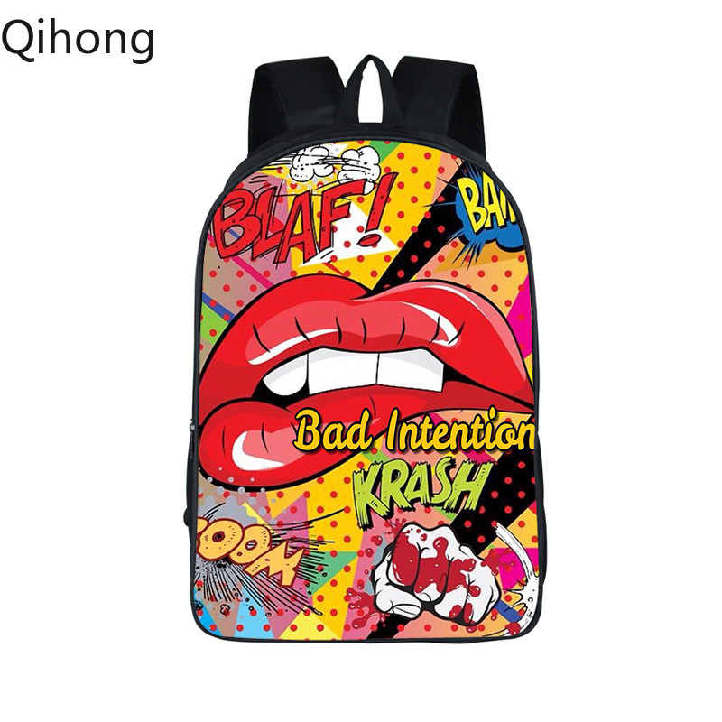 Red Lips Printing Women Backpack School Bags for Teenagers Girls Boys Kpop Bagpack 3D Golden Laptop Backpack Mochila Qihong 2019 image