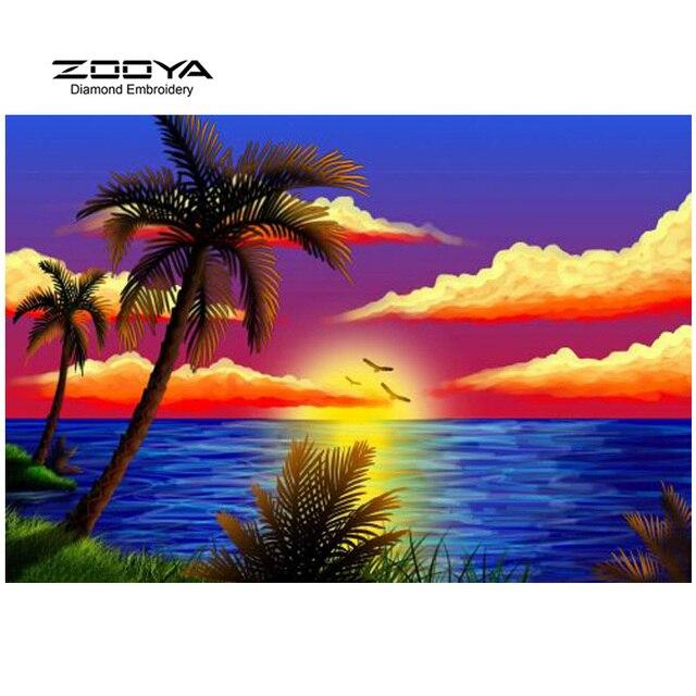 Zooya Berlian Bordir 5d Diy Berlian Lukisan Pemandangan Pantai Awan