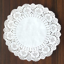 100 Pcs 9.5 inch Round Paper Lace Doilies Cake Paper napkins Craft Coasters Party Wedding Table Decor White(China)