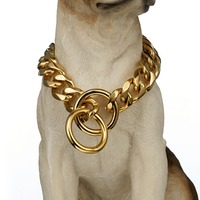 Thick 19mm Gold Color Stainless Steel Curb Cuban Link Chain 14 28 Inches Option Dog Collar Strong Pet Supplies Necklace Choker