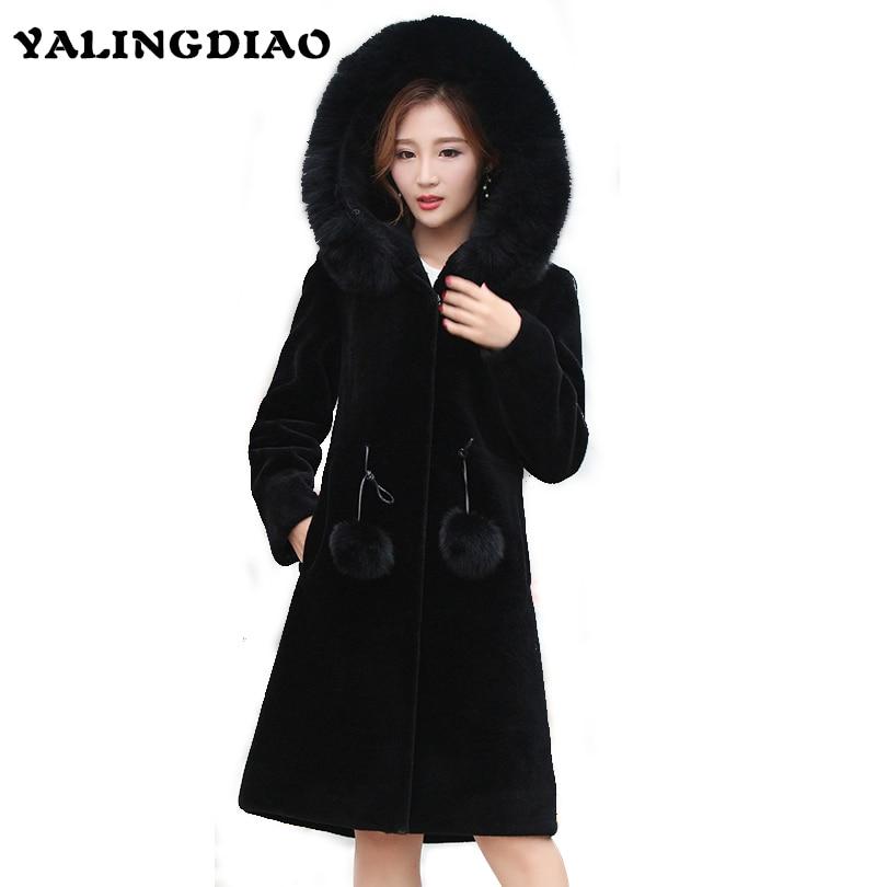 Для женщин натуральным мехом пальто Женская мода Длинные длинный рукав сплошной толстый На зимнем меху куртка природных лампы Шуба с капюш
