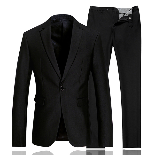 New 2016 Arrival Men Suits Fashion Brand-Clothing Solid Color Casual Slim Business Blazer Men Banquet Groom Suits (Jacket+Pants)
